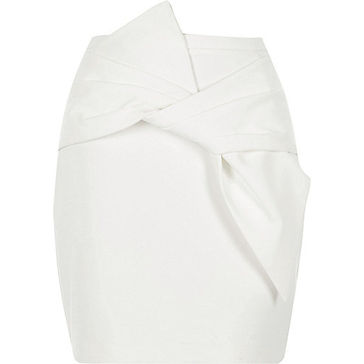 White bow front mini skirt