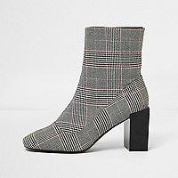 Schwarze Stretch-Stiefel mit Karomuster und Blockabsatz