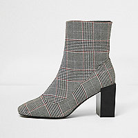 Black check print block heel sock boots