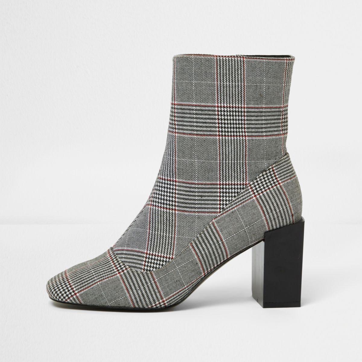 Black check print block heel sock boots
