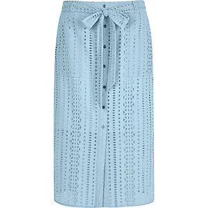 Light blue button through broderie midi skirt