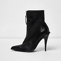 Black zip pointed toe stiletto leather boots