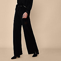Black RI Studio wide leg zip hem joggers