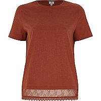 Brown lace hem T-shirt