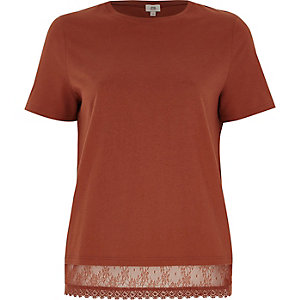 Brown lace hem T-shirt