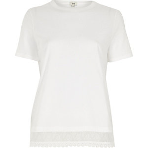 White lace hem T-shirt