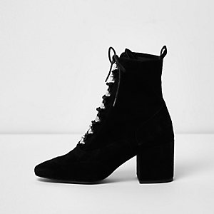 Black suede tie up boots