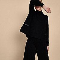 Black RI studio high neck zip waist top