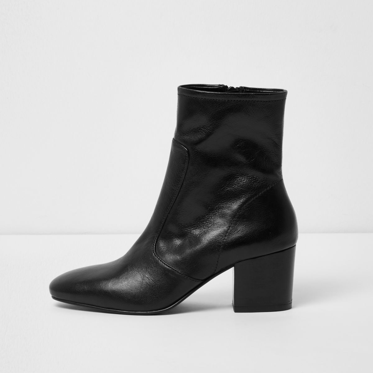 Black leather sock block heel ankle boots