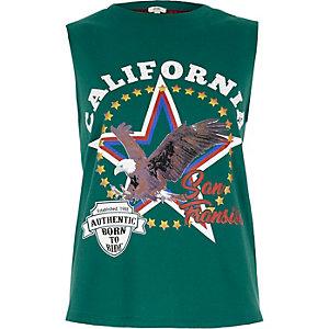 Green 'California' fringe back tank top