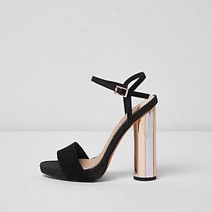 Black electroplated heel platform sandals