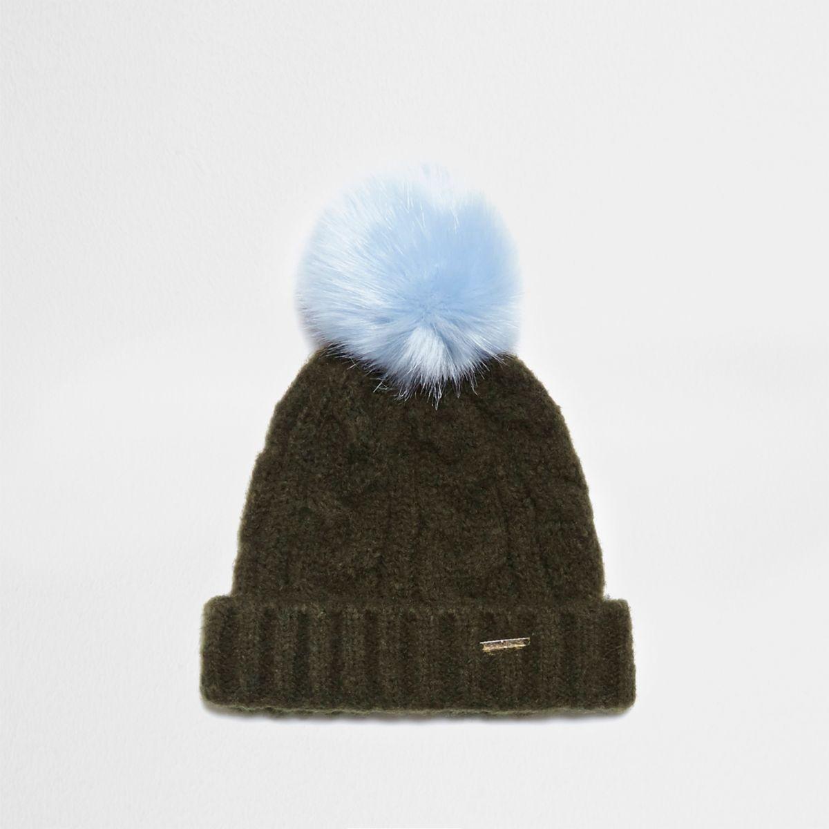 Khaki green cable knit bobble beanie hat