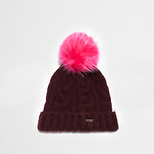 Burgundy cable knit pom pom beanie hat