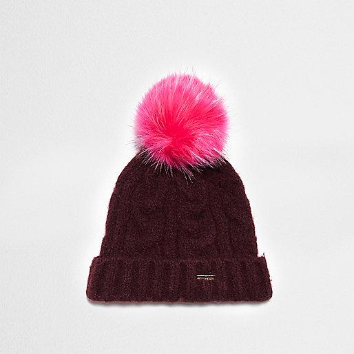 Burgundy cable knit pom pom beanie hat