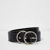 Zwarte riem met krokodillenprint, reliëf, en gesp met twee ringen