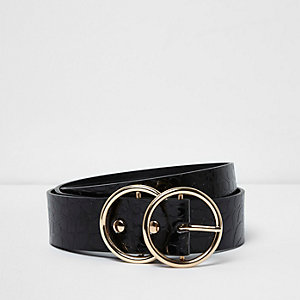 Black croc embossed double ring buckle belt