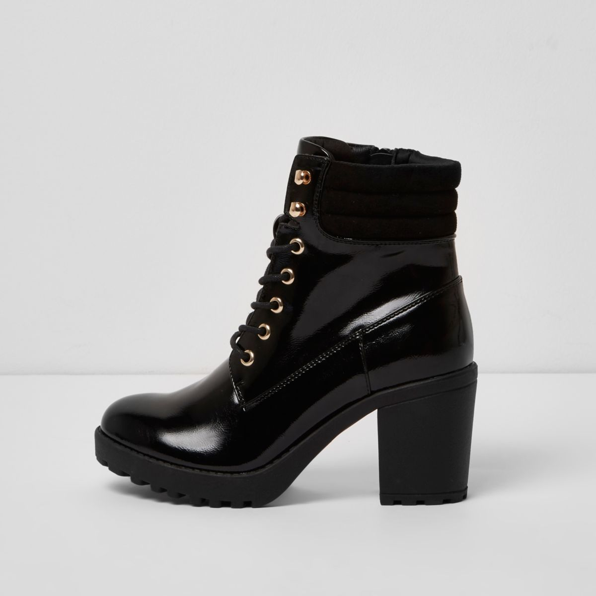 Black patent lace up chunky heeled boots