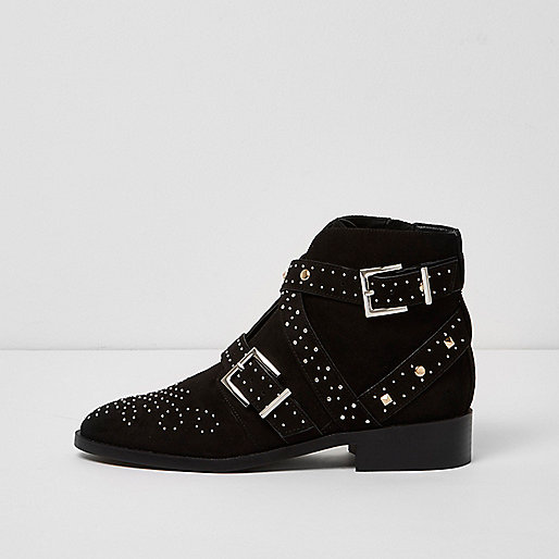 Black studded buckle side ankle boots