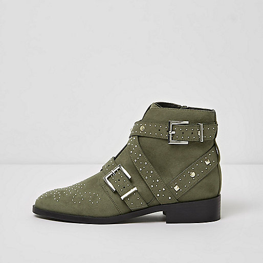 Khaki studded side buckle ankle boots