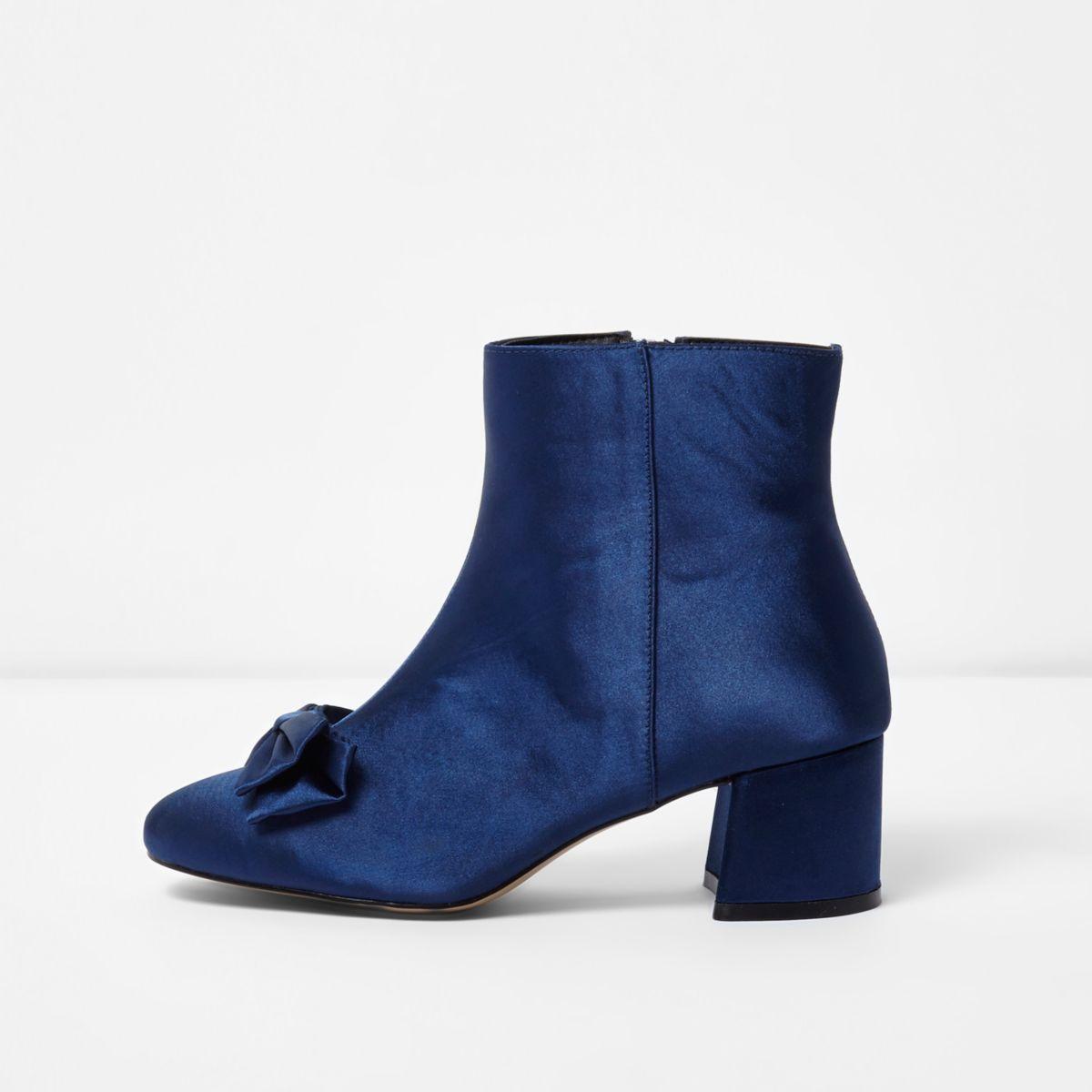 Dark blue bow satin block heel ankle boots