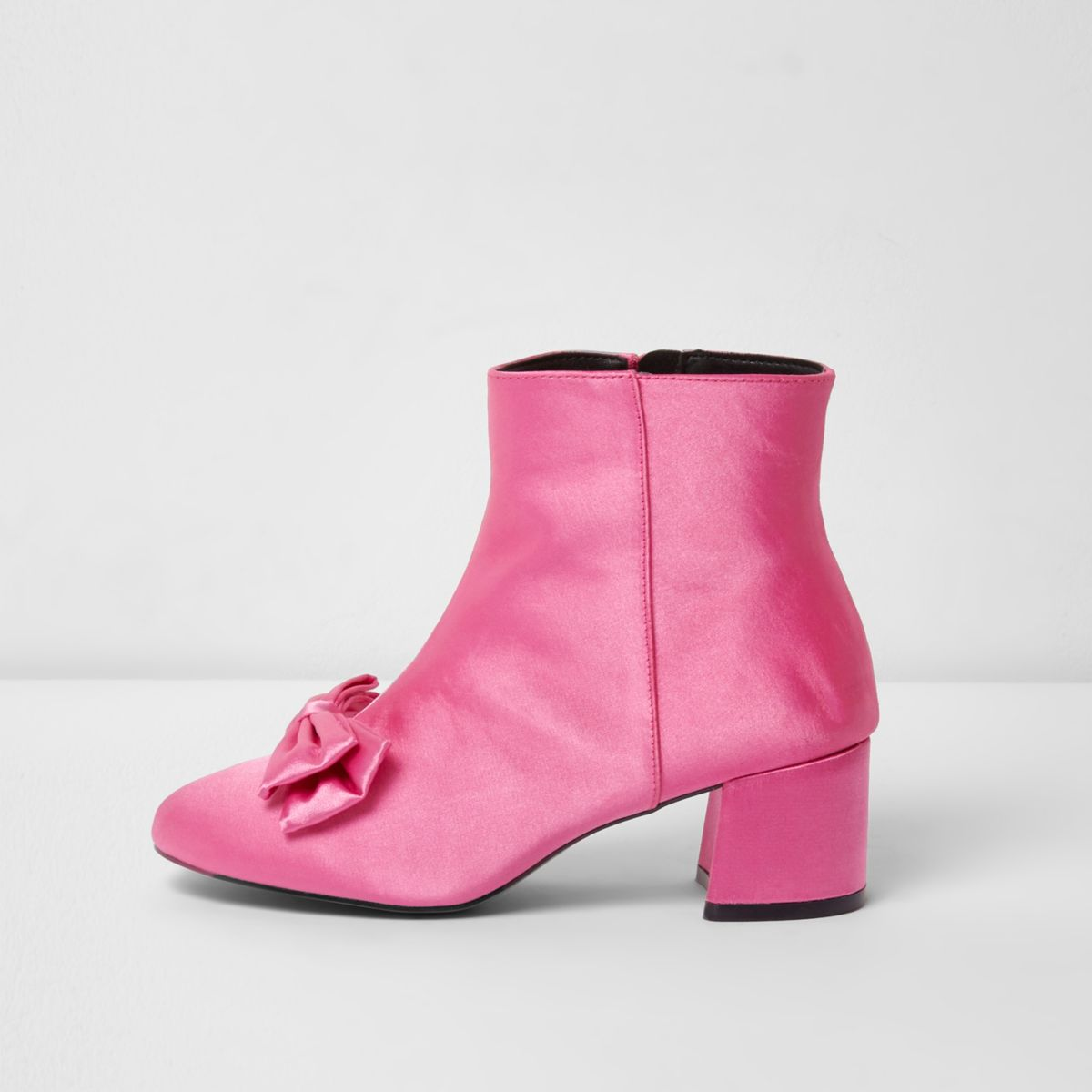 Bright pink bow satin block heel ankle boots