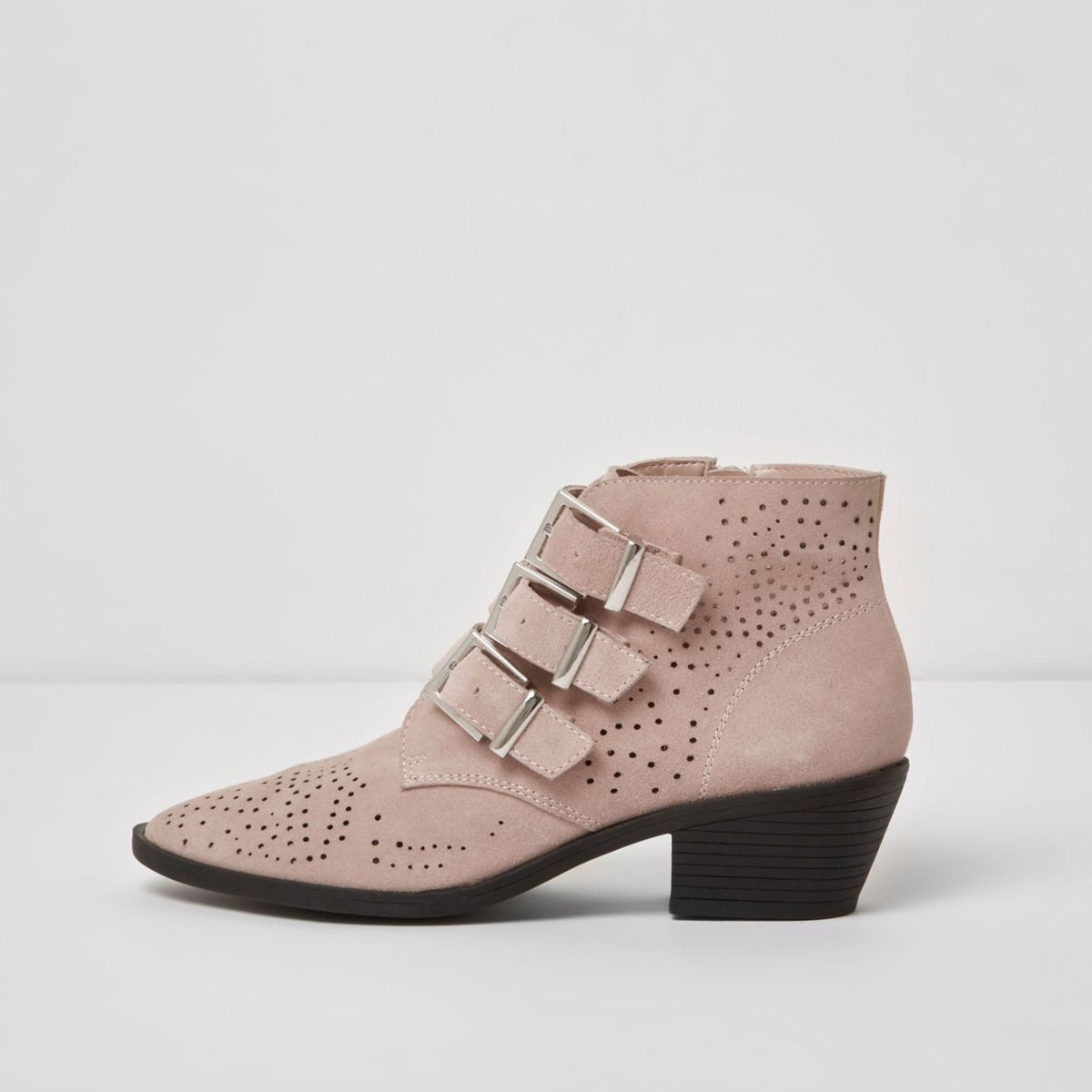 Pink triple buckle suede western boots