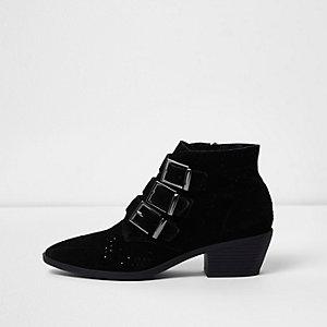 Schwarze Western-Stiefel aus Wildleder mit Schnallen