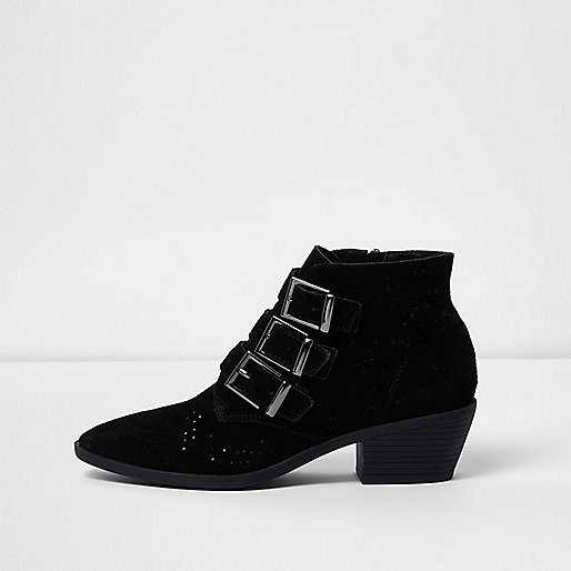 Black triple buckle suede western boots