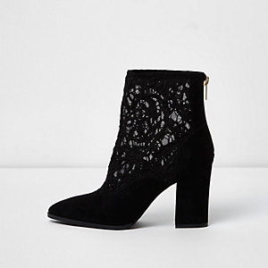 Black lace insert block heel pointed boots