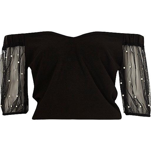 Black mesh puff sleeve bardot top