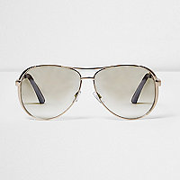 Gold tone clear lens aviator sunglasses