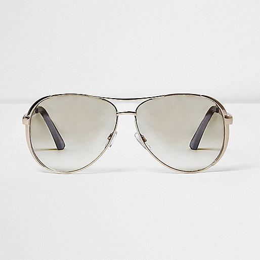 Gold tone clear lens aviator sunglasses