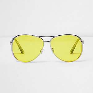 Silver tone yellow lens aviator sunglasses