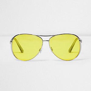 Lunettes de soleil aviateur argentées aux verres jaunes