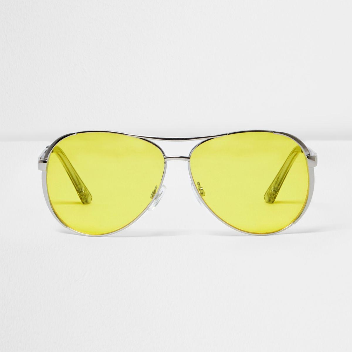 Silver tone yellow lens aviator sunglasses