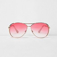 Gold tone aviator red lens sunglasses