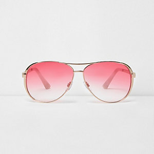 Gold tone aviator red lens sunglasses