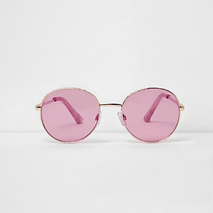 Gold tone round pink lens sunglasses