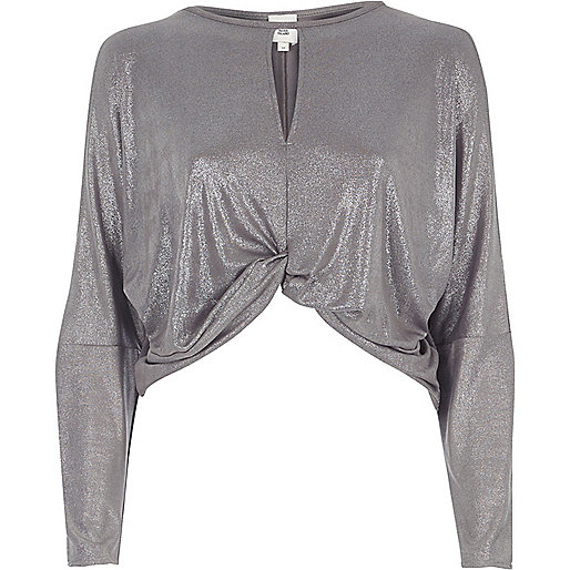 Silver metallic twist front batwing top