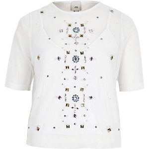 White mesh gem embellished T-shirt