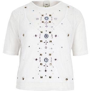 T-shirt en tulle blanc orné de pierres fantaisie