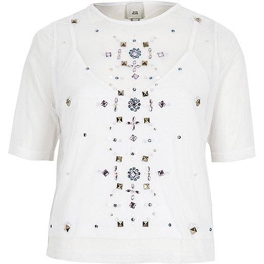 White mesh gem embellished T-shirt