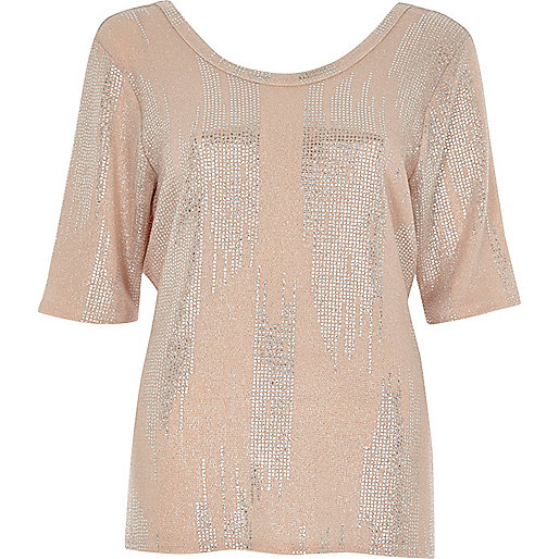 Nude metallic print wrap back T-shirt
