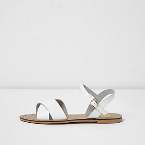 White cross strap leather sandals