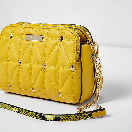 Yellow studded cross body quilted bag