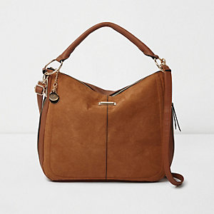 Tan scoop underarm bucket bag