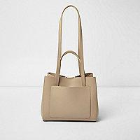 Beige leather mini winged tote bag