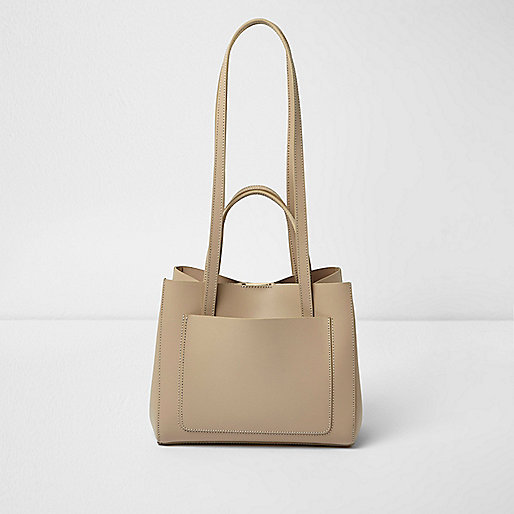 Beige leather mini winged tote bag
