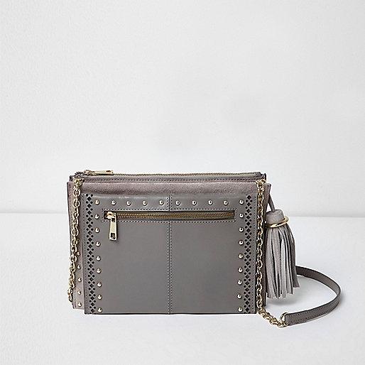 Grey leather studded cross body chain bag
