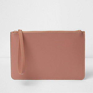 Blush pink leather pouchette